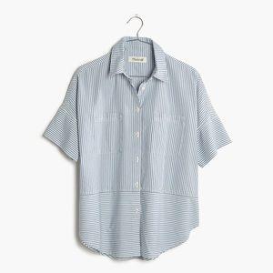 Madewell Courier Button Down Shirt Blue Stripe XS